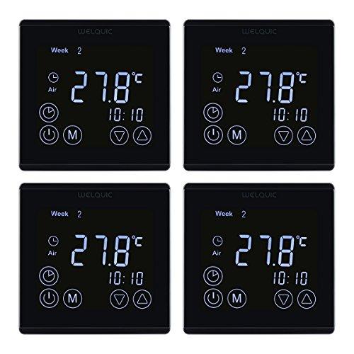 Welquic lcd termostato digitale per riscaldamento a parete touch screen programmabile per regolatore di temperatura per controllo attuatore valvola riscaldatore elettrico, nero (unità di 4)