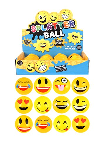 Smiley Emoji-Splat Ball – 12 Stück – Party Bag Filler Fun Überwurf - Emojis Stress-bälle
