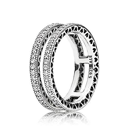 Zweireihiger Pandora Damen Ring Zweifach Unendliche Herzen in silber mit Zirkonia Steinen besetzt