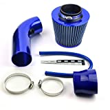 DELIPOP Universal Sportluftfilter Auto Aluminium Pipe Power Flow Kit Blau