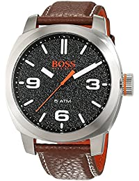 Montre Hommes Boss Quartz - Affichage Analogique bracelet Cuir Marron et Cadran Noir 1513408