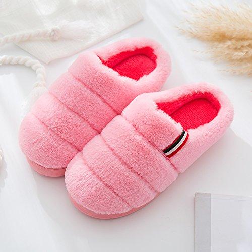 Fankou cotone femmina pantofole inverno caldo più spessa di cashmere home home carino scarpe mezza pack con scarpe di cotone maschio Rot