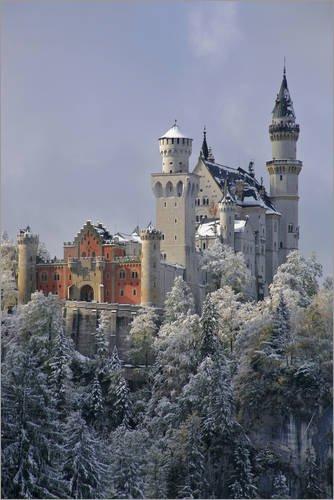 Poster 20 x 30 cm: Schloss Neuschwanstein im Winter, Schwangau bei Füssen, König Ludwig II von Uwe Steffens/Mauritius Images - hochwertiger Kunstdruck, neues Kunstposter (Neuschwanstein Schloss Poster)