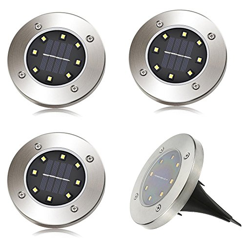 4 x LED Solar Leuchte außen Garten Solarleuchte Bodenleuchte Edelstahl Außenleuchte Wasserdicht 100LM Dämmerungsschalter Erdspieß Solar für Rasen Hof Auffahrt Warmweiß