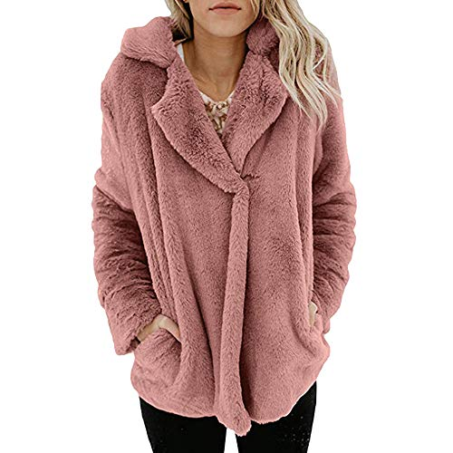 (AMUSTER Damen Winter Warme Fleece Jacke Mantel mit Taschen Mantel Frauen Plüsch Winter Stepp Warmen Outwear Cardigan Lange Ärmel Einfarbig Parka Strickjacken)