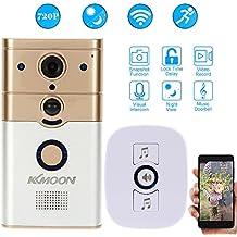 KKmoon Videoportero Intercom 720P Wifi + Timbre Inalámbrico Visión por Móvil Snapshot Visión Nocturna PIR Detección de Movimiento Alarma para Acceso Puerta