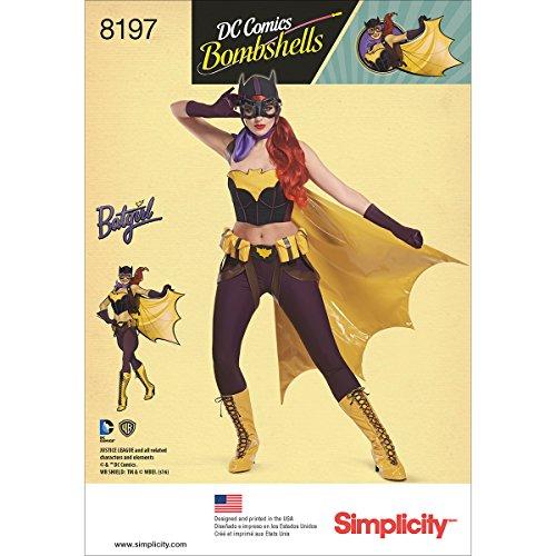 Kostüm Batgirl Muster - Simplicity Schnittmuster 8197 H5 (36-38) D.C. Comics Bombshells Fledermaus-Kostüm, Papier, Weiß, 22,19 x 15,19 x 1,19 cm