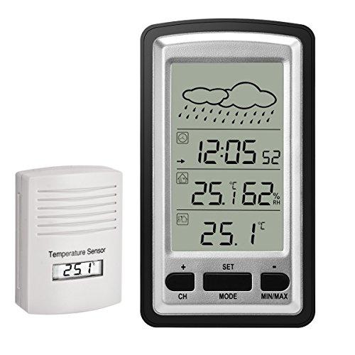 HopCentury Funk-Wetterstation Digital-Wecker mit Indoor-Outdoor-Sensor, leicht abzulesende Anzeige Temperatur und Luftfeuchtigkeit