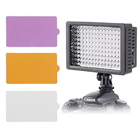 ZCTL Ultra 160 LED Video Camera Light Panel with Filters Universal Dimmable Camera Lighting Kit for DSLR Canon Nikon Pentax Panasonic Samsung and Olympus Digital Camera Camcorders