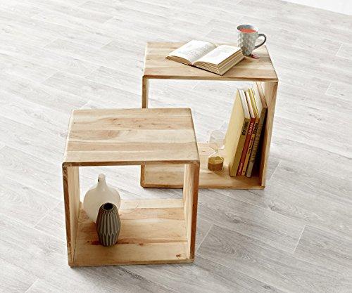 DELIFE Würfelregal Eolo Akazie Gebleicht 50x30 cm Massivholz 2er Set Beistelltisch Cube