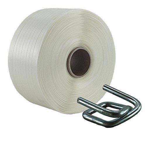 Preisvergleich Produktbild 16 mm Textil Umreifung Set besteht aus Umreifungsband und Metallklemmen phosphatiert