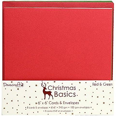 Dovecraft de Navidad Basics–tarjetas y sobres, papel, rojo/verde, 6x 15,2cm)