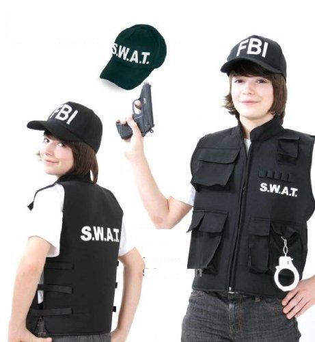 (S.W.A.T. SWAT Weste schwarz mit Handschellen für Karneval Fasching (152))
