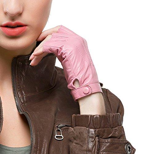 Nappaglo Damen Lederhandschuhe für fahren Halbfinger fingerlose Handschuhe für Fahren Outdoor Motorrad Radfahren Handschuhe (XXL (Umfang der Handfläche:21.6-22.8cm), Rosa) (Fingerlose Rosa Handschuhe)