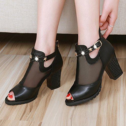 Wywq Women's High Heels Botas De Tacón Grueso Con Cremallera Una Hebilla De Palabras Negras