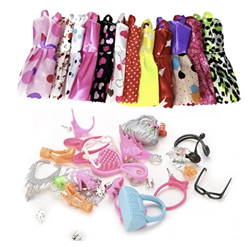 iDream 10pcs Doll Dress & Doll Accessories (Combo Pack) Compatible with Barbie Doll