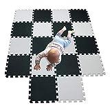 MQIAOHAM 18 Pcs Boden puzzlematte Baby spielmatte Kinder Teppich Schaumstoff Puzzle Eva puzzlematten ideenreich krabbeldecke playmat Teppich kinderzimmer spielmatten Matte White Black 101104