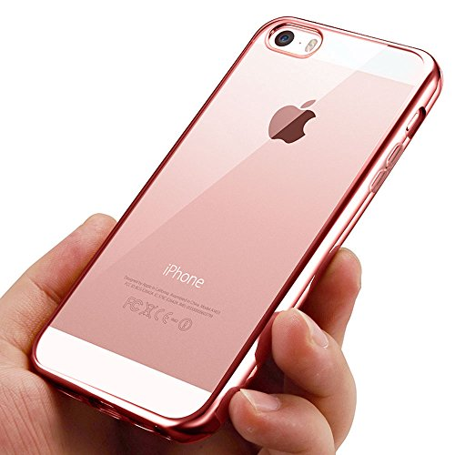 Iphone se cover, korostro iphone 5s case crystal clear custodia iphone 5 silicone tpu case assorbimento-urto trasparente cover per iphone se/5s/5 - oro rosa