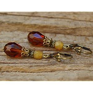 Vintage Tropfen Ohrringe mit Glasperlen - braun & bronze