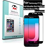 Mobonic |2.5D 9H Full Cover| |Full Glue| |No Dot Patterns No Rainbow Guaranteed| |Gorilla Glass| |Scratch Shock Proof| |Anti Explosion| |Tempered Glass| Screen Protector Shield For Samsung Galaxy J7 Pro [Black] [0.3mm 2.5D Curved Ultra HD Clear Proper Cam