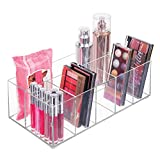 mDesign Kosmetik Organizer – Aufbewahrungsbox mit sechs Fächern für Make-up, Nagellack und Beautyprodukte – die ideale Schminkaufbewahrung – transparent