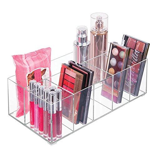 mDesign Organizador de maquillaje ? Caja transparente con 6 compartimentos - Ideal para guardar maquillaje, cosméticos y productos de belleza ? Plástico transparente