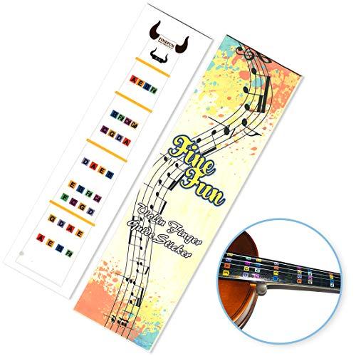 FineFun Geigen-Fingerführung, Griffbrett-Aufkleber, Bund-Führer, Etikett, Grifftabelle, für Größe 4/4, 3/4, 2/1, 4/1, 8/1, 10/1 4/4 Transparent