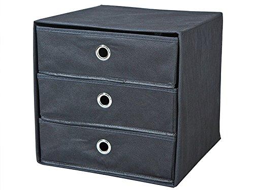 Inter Link Faltbox WILLY Aufbewahrungs-Box mit 3 Schubladen, verschiedene Farben, Farbe:Schwarz