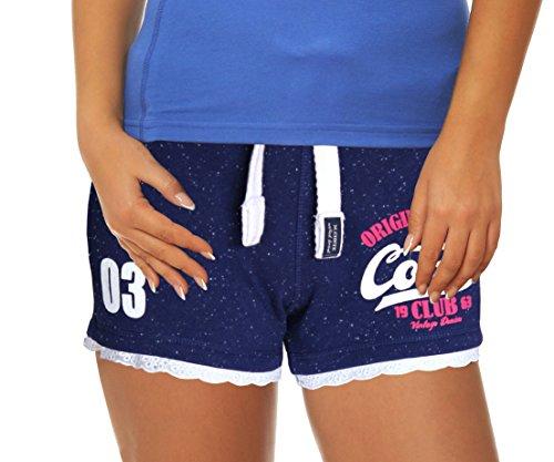 M.Conte Damen Jersey-Shorts Basic Skinni Fit Sport-Shorts / Training Retro-Shorts kurze Damen-Hose Pants Jogginghose Sporthose Blau Neon...