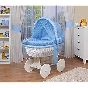 WALDIN Baby Stubenwagen-Set mit Ausstattung,XXL,Bollerwagen,komplett,44 Modelle wählbar,Gestell/Räder weiß lackiert,Stoffe blau/kariert