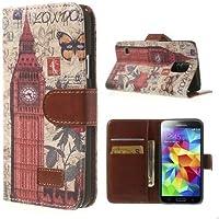 Handytasche Business Case Cover Samsung Galaxy S5 / SM-G900F / GT-I9600 - STAND BOOK Etui Flip Big Ben London