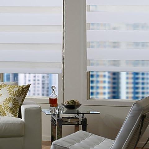 AuraLum 80x150cm Weiß Doppelrollo DUO-Rollo Verdunkelungsrollos mit Klemmträger aus 100% Polyester ohne Bohren Sonnenschutzrollo Fensterrollo