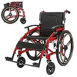 Autopropulsado ligero plegable silla de ruedas, silla de ruedas manual portátil for los ancianos inválidos, de 24 pulgadas de la rueda trasera, el asiento Ancho 44cm, capacidad de carga de 200 kg, Roj