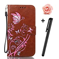 Huawei P10 Lite Case,TOYYM Ultraslim PU Leather Flip Cover Wallet Bumper Case with [Card Slots] [Kickstand] [Magnet Closure],Colorful Butterfly and Flower Pattern Design Bookstyle Leather Protective Full Body Case Cover for Huawei P10 Lite,Brown
