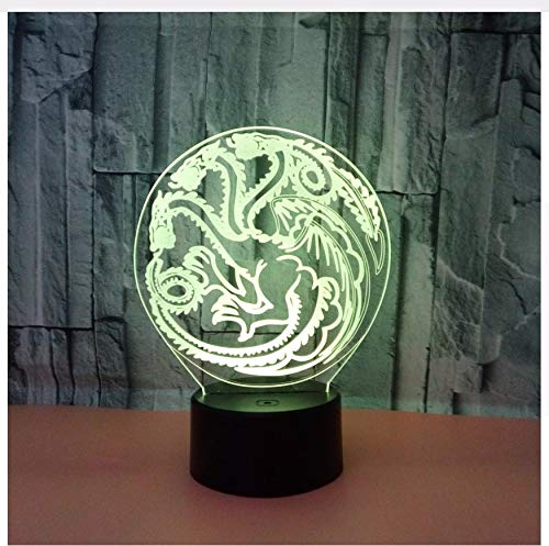 Dragon 3D Nachtlicht Acryl USB 7 FarbwechselTouch Atmosphäre -