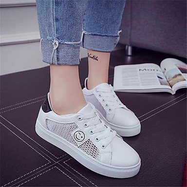 RTRY Donna Sneakers Comfort Pu Molla Canvas Informale Comfort Bianco Bianco Piatto Us8.5 / Eu39 / Uk6.5 / Cn40 US5.5 / EU36 / UK3.5 / CN35