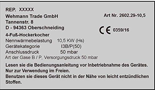 Gas-Hockerkocher 10,5 KW Profi Hockerkocher inkl. 1,5 m Schlauch u. Regler.
