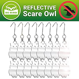 Bird Repellent Reflective Owl with Manual - Decorative Scare Deterrent to Keep Pigeons and More Away - 8 Pack