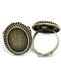 Housweety 10 Supports de bague reglable plateau ovale Bronze 17.5mm(pr camee 18x13mm)