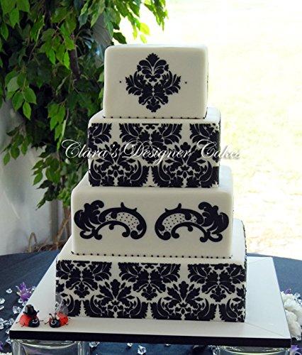 51SJkUTZNxL - Designer Stencils C406Martha Stewart, Damask Cake 5-Tier Set Cake Stencil, Beige/Semi-Transparent
