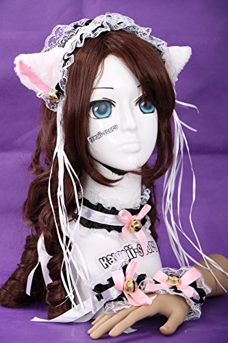 C-09 weiß schwarz Gothic Lolita Maid Katzen Ohren Cat Ear Haarband Halsband Armband Set ()