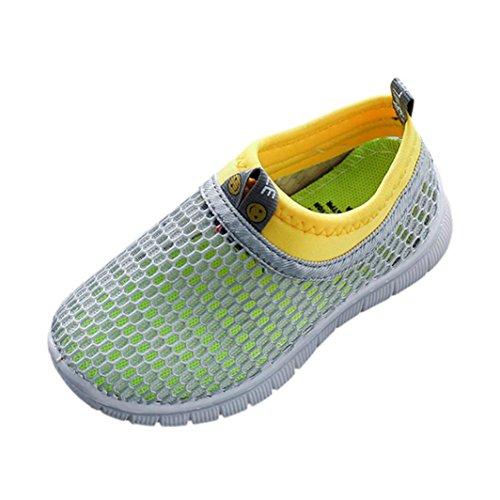 SOMESUN Fashion Baby Jungen Mädchen Schuhe Kinder Jugendliche Süßigkeiten Farbe Stoff Mesh Beiläufig Weich Atmungsaktiv Elastisch Sport Turnschuhe (EU21, Grau)