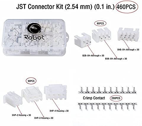 JST Connector Kit (2.54 mm) (0.1 in.) (460 PCS) with Double-Sided Parts Case, for Manufacturers and Electronic Enthusiasts.