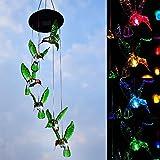 LED Solar Wind Glockenspiel, HomeYoo 7 LED wechselnde Lichtfarbe wasserdicht Weihnachten Windspiele, Xmas Deer Light String Nacht Garten Lichte Für Haus / Partynacht Garten Dekoration (Six Hummingbird)