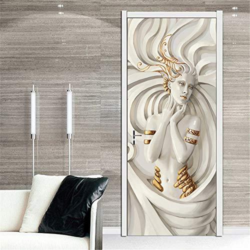 ZGJZSF Bücherregal 3D Tür Aufkleber Bücherregal Tür Wandbild Bibliothek Vinyl Aufkleber Für Hauptdekoration wasserdichte Schlafzimmer Studie Tapeten 77x200cm -