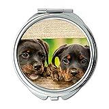 Espejo de maquillaje, espejo de rodillo para perro, perro cachorro, adorable animal animal, espejo de bolsillo, espejo portátil