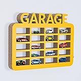 gsmarkt | Wellpappe Hänge Regal Garage für Spielzeugautos Gelb Außenmaße 36x48x5 cm (BxLxH) Öko Deko Kinder Zimmer Dekoration Wand Board 3d Figur Natur Möbel