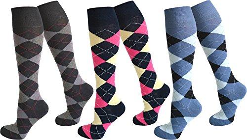normani 3 Paar Kniestrümpfe für Teenager und Damen im Karo Design Farbe Farbset4 Größe 39-42