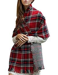 ISASSY Women's REVERSIBLE THICK CASHMERE Blend Scarves Tartan Check Plaid Scottish Shawl Wrap Stole winter warm neck scarf One Size