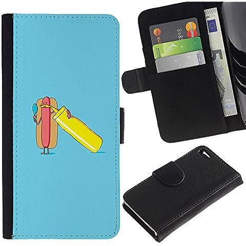 KLONGSHOP / Cassa del raccoglitore del cuoio di vibrazione con slot per schede - Minimalist Hot Dog Poster - Apple iPhone 4 / 4S